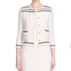 NWT St. John Berber Knit Jacket in Cream/Caviar
